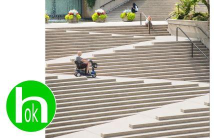 rampa realizzata in gradinata per renderla accessibile